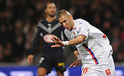 OL's Karim Benzema celebrates after scoring the first goal during the French First League Soccer match, Olympique Lyonnais vs Girondins Bordeaux at the Gerland stadium in Lyon, Frace on November 16, 2008. Lyon won 2-1. Photo by Steeve McMay/Cameleon/ABACAPRESS.COM