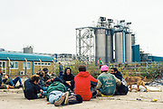 People sat outside a factory at Trumpkin Tek, Halloween, Wales, 29 October 2016