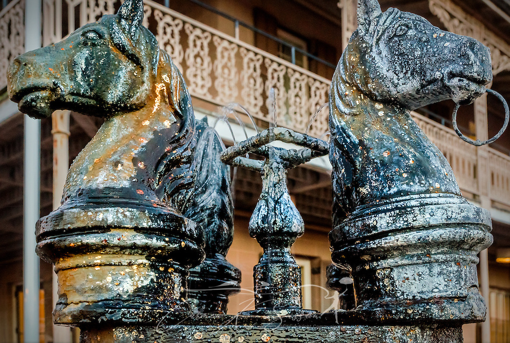 Four horses adorn a fountain at the intersection of Water Avenue and Washington Street, in front of the St. James Hotel, Feb. 14, 2015, in Selma, Alabama. The hotel was built in 1837 and is believed to be one of the only surviving riverfront antebellum hotels in existence. (Photo by Carmen K. Sisson/Cloudybright)