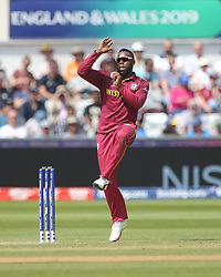 July 1, 2019 - Chester Le Street, County Durham, United Kingdom - Fabian Allen of West Indies bowling during the ICC Cricket World Cup 2019 match between Sri Lanka and West Indies at Emirates Riverside, Chester le Street on Monday 1st July 2019. (Credit Image: © Mi News/NurPhoto via ZUMA Press)