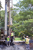 Two wells being drilled for a closed loop geothermal heat exchange pipe. Image taken with a Leica T camera and 23 mm f/2.8 or 11-23 mm lens.