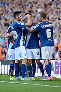 David Cotterill celebrates his first goal during the Sky Bet Championship match between Birmingham City and Reading at St Andrews, Birmingham, England on 8 August 2015. Photo by Alan Franklin.