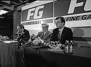Garret Fitzgerald Stands Down As Fine Gael Leader.(R52)..1987..11.03.1987..03.11.1987..11th March 1987..After the loss at the recent general election Dr Garret Fitzgerald took the decision to resign as leader of the Fine Gael Party...At the Press Conference to announce his decision to stand down as Fine Gael leader, Dr Fitzgerald is pictured centre stage, accompanying him are Mr Finbar Fitzpatrick and Mr Peter White of Fine Gael Head Office.