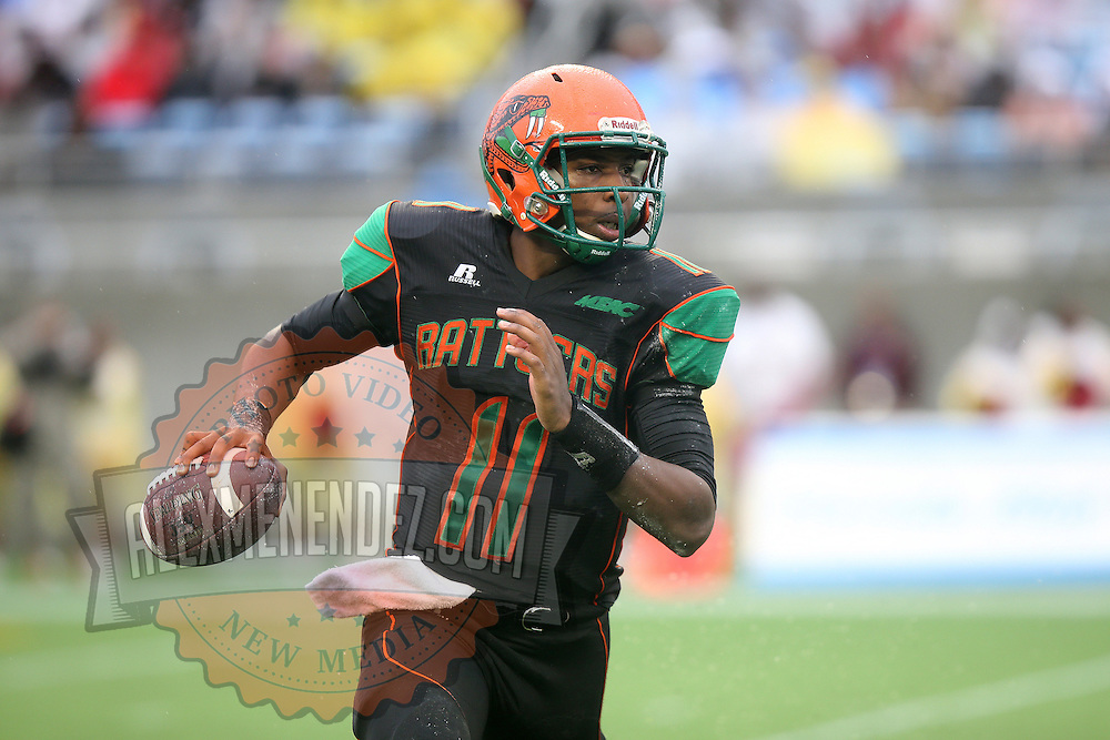 Florida A&M Rattlers quarterback Damien Fleming (11) runs with the ball during the Florida Classic NCAA football game between the FAMU Rattlers and the Bethune Cookman Wildcats at the Florida Citrus bowl on Saturday, November 22, 2014 in Orlando, Florida. (AP Photo/Alex Menendez)
