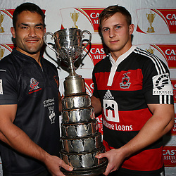DURBAN, SOUTH AFRICA, 8th August, 2016 - Kevin Buck  captain of Amanzimtoti Rugby Club and  Andrew Holland captain of SA Home Loans Durban Collegians during the press conference prior to the Final of the Castle Murray Cup knockout rugby match between  Amanzimtoti Rugby Club and SA Home Loans Durban Collegians at the Crusaders rugby club Durban North,Durban, South Africa. (Photo by Steve Haag)<br /> <br /> images for social media must have consent from Steve Haag