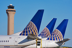 Tails of three United Airlines commercial passenger jets at Houston's Intercontinental Airport
