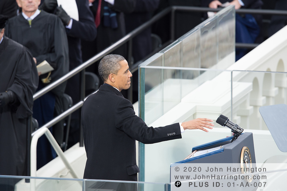 President Obama concludes his second inaugural address during the 57th Presidential Inauguration of President Barack Obama at the U.S. Capitol Building in Washington, DC January 21, 2013.