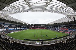 A general view of Liberty Stadium, home of Ospreys<br /> <br /> Photographer Simon King/Replay Images<br /> <br /> Guinness PRO14 Round 2 - Ospreys v Cheetahs - Saturday 8th September 2018 - Liberty Stadium - Swansea<br /> <br /> World Copyright © Replay Images . All rights reserved. info@replayimages.co.uk - http://replayimages.co.uk