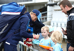 England's Joe Root signs autographs for young fans during a nets session at Headingley, Leeds. PRESS ASSOCIATION Photo. Picture date: Wednesday May 30, 2018. See PA story CRICKET England. Photo credit should read: Tim Goode/PA Wire. RESTRICTIONS: Editorial use only. No commercial use without prior written consent of the ECB. Still image use only. No moving images to emulate broadcast. No removing or obscuring of sponsor logos.