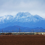 Snow on Four Peaks - seen from Queen Creek, AZ