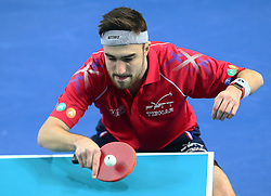 February 23, 2018 - London, England, United Kingdom - Quentin ROBINOT of France .during 2018 International Table Tennis Federation World Cup match between Quentin ROBINOT of France  against Kristian KARLSSON of Sweden  at Copper Box Arena, London  England on 23 Feb 2018. (Credit Image: © Kieran Galvin/NurPhoto via ZUMA Press)