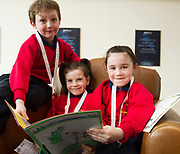 Scriobh Leabhair , Galway Education Centre's booking writing competition for National School pupils At the Radisson Blu saw hundreds of Children awarded for their Writing Skill.<br /> At the event was Adam O'Connor , Rachel N&iacute; Chadhain, and Jenna N&iacute; Chroimin  Gaelscoil de hIde<br />  . Photo:Andrew Downes, xposure