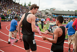 2012 USA Track & Field Olympic Trials: men's 1500 meters, Wheating, Manzano congratulate each other on making Olympic team