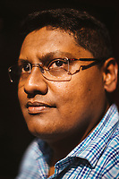 A portrait of Swagat Sengupta, the CEO of Oxford Books and director of a Bengali language literary festival held every year in Kolkata.