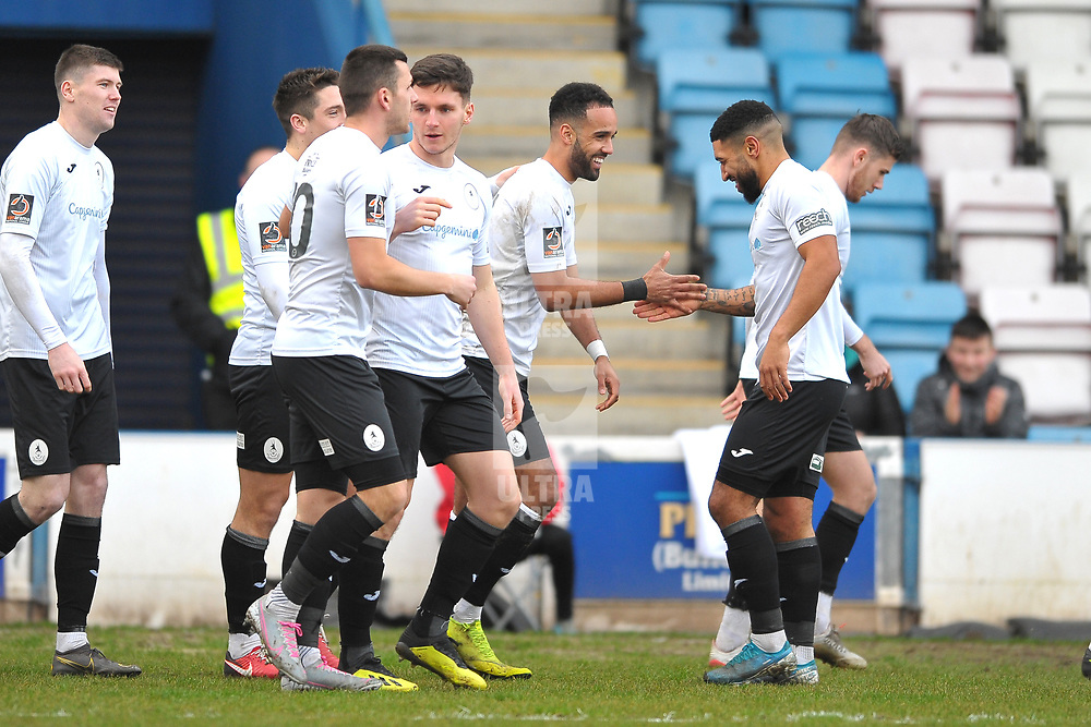 TELFORD COPYRIGHT MIKE SHERIDAN GOAL. Brendon Daniels of Telford celebrates after he scores to make it 1-0 during the Vanarama Conference North fixture between AFC Telford United and Altrincham at The New Bucks Head on Saturday, February 1, 2020.<br /> <br /> Picture credit: Mike Sheridan/Ultrapress<br /> <br /> MS201920-044