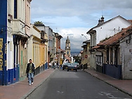 A scene of the historic La Candelaria district in Bogota, Colombia.