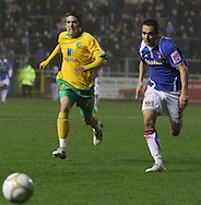 Carlisle - Saturday November 28th, 2009: Evan Horwood of Carlisle United and Cody McDonald of Norwich City during the FA Cup second round match at Brunton Park, Carlisle. (Pic by Andrew Stunell/Focus Images)..
