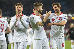 March 21, 2019 - Vienna, Austria - Grzegorz Krychowiak, Mateusz Klich and Bartosz Bereszynski of Poland during the UEFA European Qualifiers 2020 match between Austria and Poland at Ernst Happel Stadium in Vienna, Austria on March 21, 2019  (Credit Image: © Andrew Surma/NurPhoto via ZUMA Press)