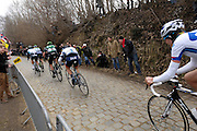 Belgium, March 31 2013: The speed increased on the final ascension of the Oude-Kwaremont. These riders were the second group up the hill in the Ronde van Vlaandaren 2013 elite men's cycle race. Copyright 2013 Peter Horrell.