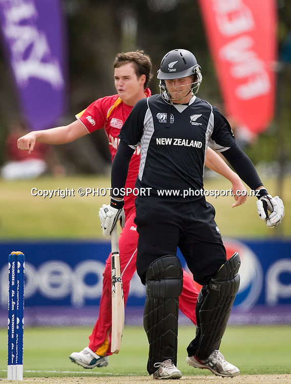 New Zealand's Corey Anderson is out to bowler Calum price. New Zealand v Zimbabwe, U19 Cricket World Cup group stage match, Bert Sutcliffe Oval, Lincoln, Tuesday 19 January 2010. Photo : Joseph Johnson/PHOTOSPORT