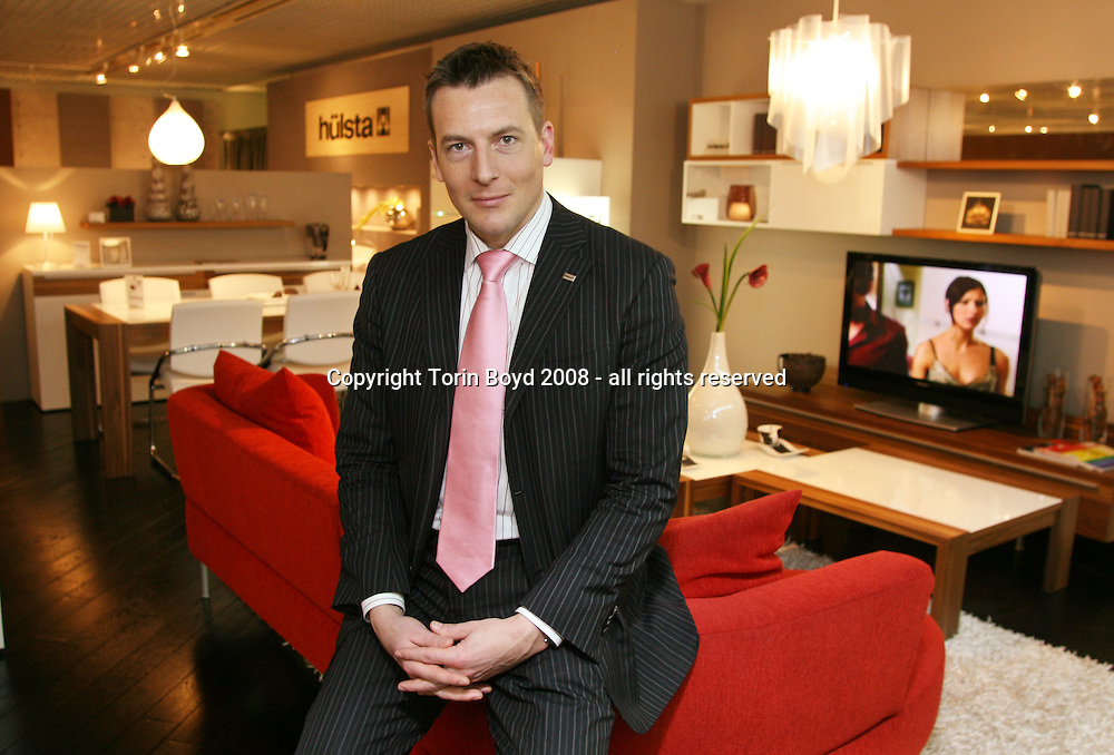 """This is 36 year old Christian Schmitz, President of Hulsta Japan K.K.. This is the Japanese division of the German home interior company called """"hulsta"""". Mr. Schmitz is seen here in the company's showroom located at the Living Design Center OZONE in the Shinjuku Park Tower, Shinjuku district of Tokyo. Photo Feb. 27, 2008."""