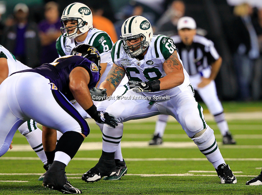 New York Jets guard Matt Slauson (68) pass blocks Baltimore Ravens defensive tackle Haloti Ngata (92) during the NFL regular season week 1 football game against the Baltimore Ravens on Monday, September 13, 2010 in East Rutherford, New Jersey. The Ravens won the game 10-9. ©Paul Anthony Spinelli