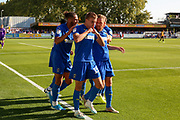 AFC Wimbledon attacker Marcus Forss (15) celebrating after scoring goal during the EFL Sky Bet League 1 match between AFC Wimbledon and Bristol Rovers at the Cherry Red Records Stadium, Kingston, England on 21 September 2019.