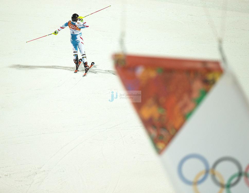 Alpine Skiing: 2014 Winter Olympics: Rear view of Austria Mario Matt (3) victorious after winning Men's Slalom gold at Rosa Khutor Alpine Center. Krasnaya Polyana, Russia 2/22/2014 CREDIT: Jed Jacobsohn (Photo by Jed Jacobsohn