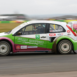 Current Britsh Supercar champion Julian Godfrey found the going tough and only managed fifth place. First round of the British Rallycross Championship held at Croft Circuit. (c) Matt Bristow | SportPix.org.uk
