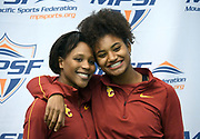 Feb 25, 2017; Seattle, WA, USA; Kyra Constantine (left) and Anna Cockrell of Southern California pose during the MPSF Indoor Championships at the Dempsey Indoor.