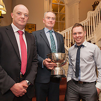 Mark Rynne, Captain of the 1996 winning Inagh/Kilnamona team, Michael Hehir, Captain of the 1993 winning Inagh/Kilnamona team, and Ciaran Devitt, Captain of the 2014 winning Inagh/Kilnamona team, pictured at the Junior A Presentation Night at the Falls Hotel, Ennistymon