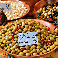 Green Olives in Wooden Bowls in Annecy, France