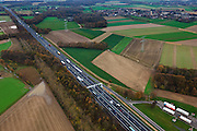 Nederland, Limburg, Gemeente Born, 15-11-2010; Rijksweg A2 ten noorden van Geleen.Motorway A2, north of the city of Geleen, Limburg..luchtfoto (toeslag), aerial photo (additional fee required).foto/photo Siebe Swart