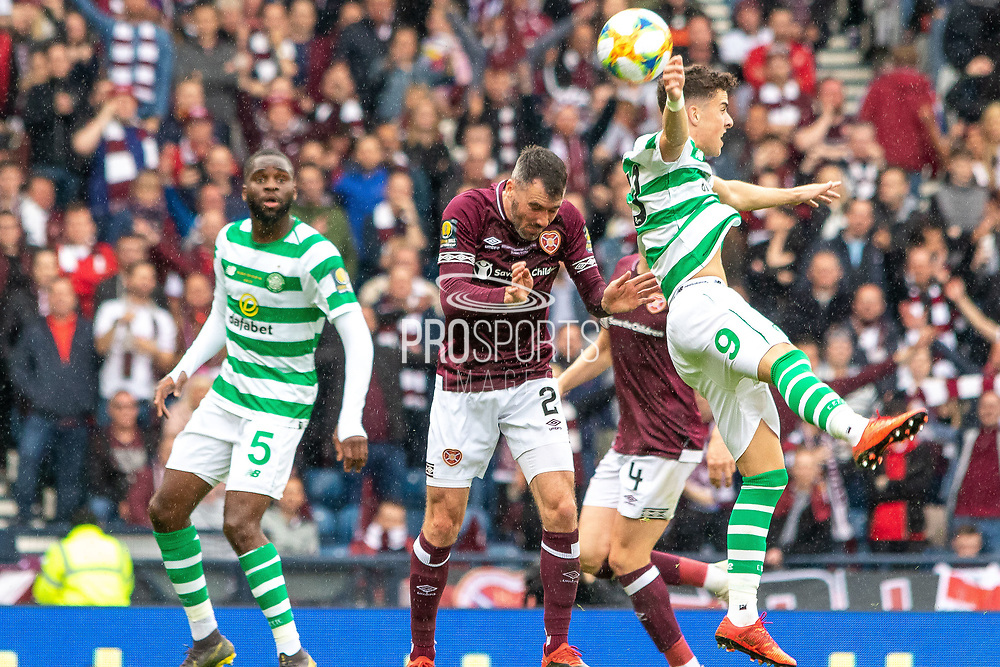 Michael Johnston of Celtic wins a header during the William Hill Scottish Cup Final match between Heart of Midlothian and Celtic at Hampden Park, Glasgow, United Kingdom on 25 May 2019.