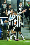 Newcastle United forward Daryl Murphy (#33) celebrates Newcastle United's first goal (1-0) with Newcastle United midfielder Isaac Hayden (#14) during the EFL Sky Bet Championship match between Newcastle United and Rotherham United at St. James's Park, Newcastle, England on 21 January 2017. Photo by Craig Doyle.