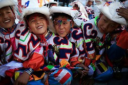 A picture made available on 19 September 2016 of Tibetan children in traditional costumes playing backstage before their performance for the opening ceremony of the Third China Tibet Tourism and Culture Expo in Lhasa, Tibet Autonomous Region, China, 10 September 2016. China is heavily promoting tourism in the region as it plans to attract 24 million tourists this year and 35 million by 2020. It opened the weeklong Third China Tibet Tourism and Culture Expo on 10 September 2016 inviting more than 400 overseas guests including ambassadors, diplomats and merchants from all over the world.