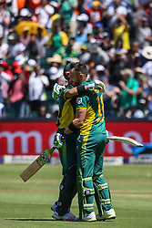 Faf du Plessis of SA celebrates his century with JP Duminy during the 2nd ODI match between South Africa and Australia held at The Wanderers Stadium in Johannesburg, Gauteng, South Africa on the 2nd October  2016<br /> <br /> Photo by Dominic Barnardt/ RealTime Images