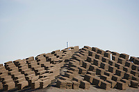 Stacks of tiles on roof