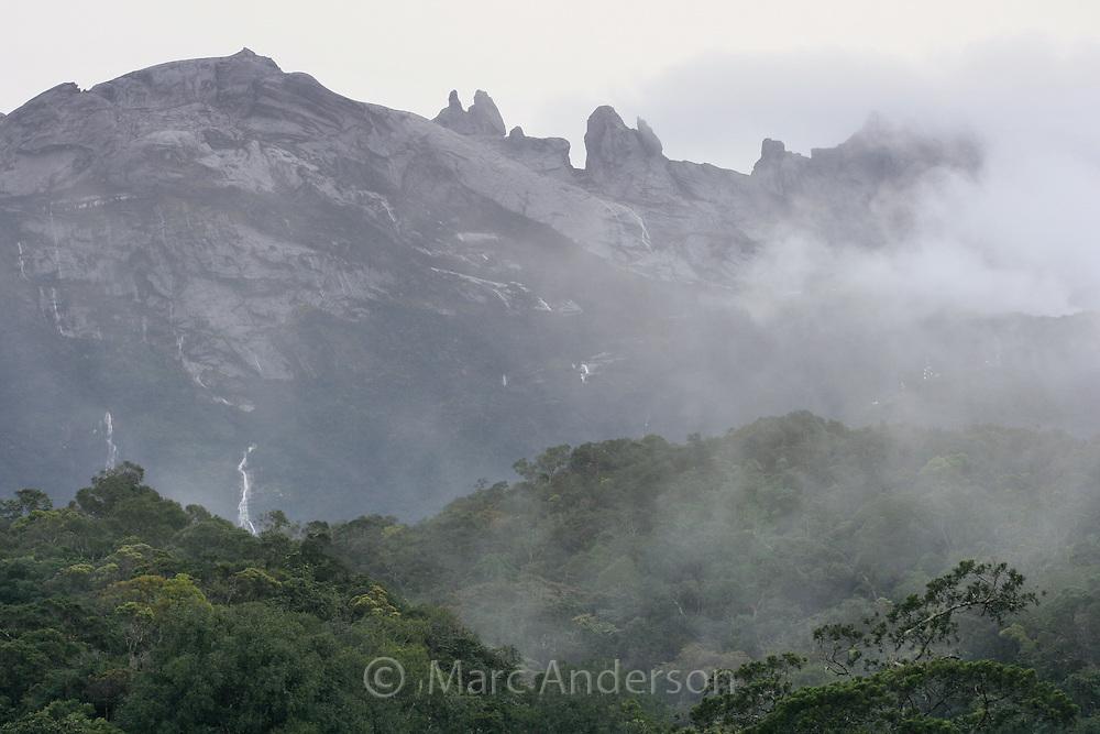 View of Mount Kinabalu, Sabah, Malaysia..