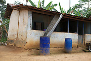 Harvesting rainwater from a roof at a Cocoa farm in Ghana.