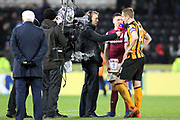 The Sky TV Cameras and Presenters conduct post match interviews with Hull City defender Michael Dawson (21) and Aston Villa defender James Chester (5)  after the EFL Sky Bet Championship match between Hull City and Aston Villa at the KCOM Stadium, Kingston upon Hull, England on 31 March 2018. Picture by Mick Atkins.