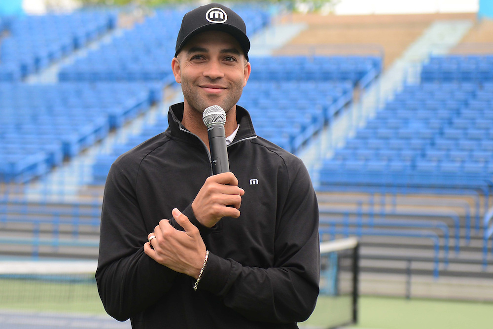 May 15, 2014, New Haven, Connecticut:<br /> Former professional tennis player James Blake gives remarks during a free tennis lesson and clinic Thursday, May 15, 2014 in advance of the 2014 New Haven Open at the Yale University Tennis Center in New Haven, Connecticut. <br /> (Photo by Billie Weiss/New Haven Open)