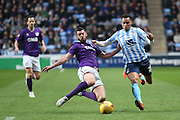 Port Vale defender Richard Duffy  tackles Coventry City forward Jacob Murphy on loan from Norwich City  during the Sky Bet League 1 match between Coventry City and Port Vale at the Ricoh Arena, Coventry, England on 26 December 2015. Photo by Simon Davies.