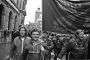 Trevor Deighton, Sogat, holding rope on the People's  March for Jobs banner, Northampton 22/05/1981