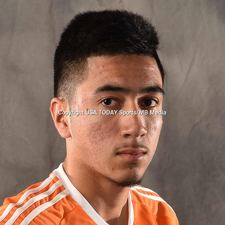 Feb 25, 2016; USA; Houston Dynamo player Memo Rodriguez poses for a photo. Mandatory Credit: USA TODAY Sports