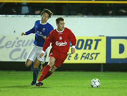 SOUTHPORT, ENGLAND - Tuesday, January 13, 2004: Liverpool's Steve Finnan in action against Everton during the 'mini-Derby' Premier League reserve match at Haige Avenue. (Pic by David Rawcliffe/Propaganda)