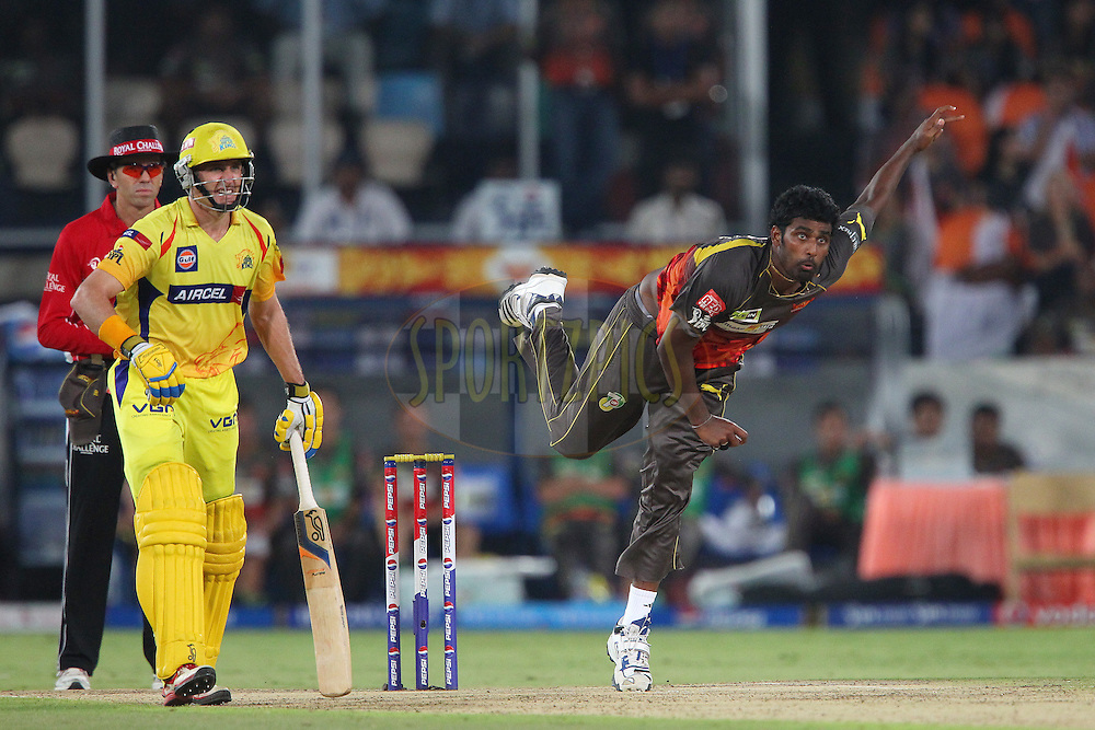Thisara Perera during match 54 of the Pepsi Indian Premier League between The Sunrisers Hyderabad and Chennai Superkings held at the Rajiv Gandhi International  Stadium, Hyderabad  on the 8th May 2013..Photo by Ron Gaunt-IPL-SPORTZPICS ..Use of this image is subject to the terms and conditions as outlined by the BCCI. These terms can be found by following this link:..http://www.sportzpics.co.za/image/I0000SoRagM2cIEc
