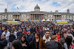 © Licensed to London News Pictures. 29/04/2017. London, UK. Visitors enjoy the Sikh festival of Vaisakhi taking place in Trafalgar Square and hosted by the Mayor of London.  The festival celebrates the beginning of Sikhism, a collective faith which is practiced by more than 20 million people worldwide.   Photo credit : Stephen Chung/LNP