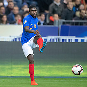 PARIS, FRANCE - March 25:  Samuel Umtiti #5 of France in action during the France V Iceland, 2020 European Championship Qualifying, Group Stage at  Stade de France on March 25th 2019 in Paris, France (Photo by Tim Clayton/Corbis via Getty Images)