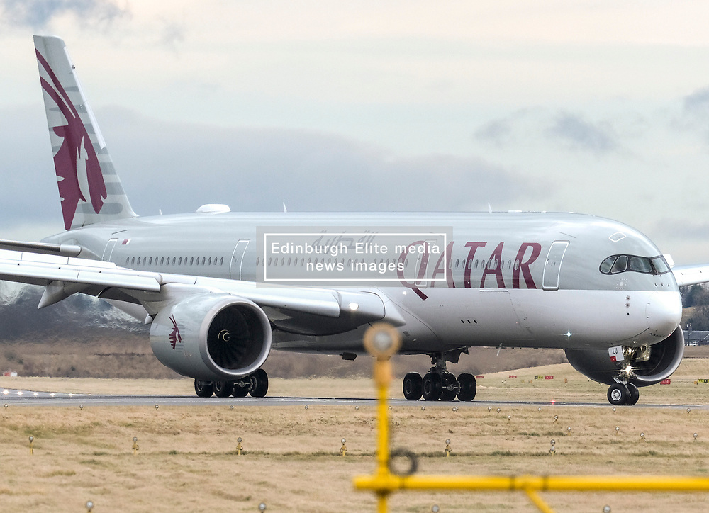 High Winds at Edinburgh Airport, Tuesday 7th January 2020<br /> <br /> Planes struggled on landing and take-off as high winds hit Edinburgh Airport today<br /> <br /> Pictured: A Qatar Airways Airbus A350-941 lands <br /> <br /> Alex Todd | Edinburgh Elite media